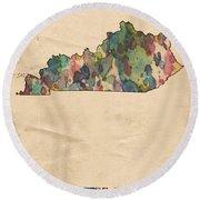 Kentucky Map Vintage Watercolor Round Beach Towel
