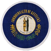 Kentucky State Flag Round Beach Towel by Pixel Chimp