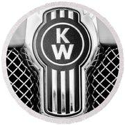 Kenworth Truck Emblem -1196bw Round Beach Towel