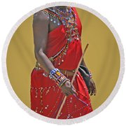 Kenya Warrior Round Beach Towel
