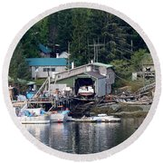 Ketchikan Buildings With Character 1 Round Beach Towel
