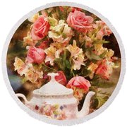 Kettle - More Tea Milady  Round Beach Towel