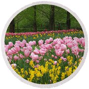 Keukenhof Gardens Panoramic 15 Round Beach Towel