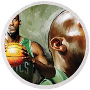 Kevin Garnett Artwork 1 Round Beach Towel