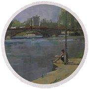 Kew Bridge, 2009 Oil On Canvas Round Beach Towel