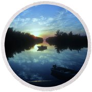 Key Biscayne Sunset 2 Round Beach Towel