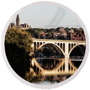 Key Bridge And Georgetown University Washington Dc Round Beach Towel