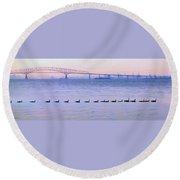 Key Bridge And Waterfowl Round Beach Towel