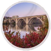 Graceful Feeling - Washington Dc Key Bridge Round Beach Towel