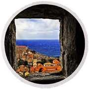 Key Hole View Of Dubrovnik Round Beach Towel