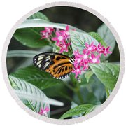 Key West Butterfly Conservatory - Monarch Danaus Plexippus 2 Round Beach Towel