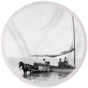 Key West Cart & Boat, C1890 Round Beach Towel