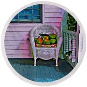 Key West Coconuts - Colorful House Porch Round Beach Towel