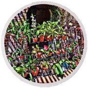 Key West Garden Club Pots Round Beach Towel