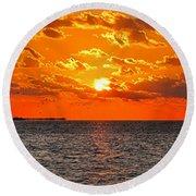 Key West Sunset 11 Round Beach Towel