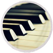 Keyboard Of A Piano Round Beach Towel by Chevy Fleet