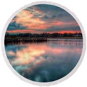Keyport Nj Sunset Reflections Round Beach Towel