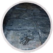 Keys On Stone Floor Round Beach Towel by Jill Battaglia