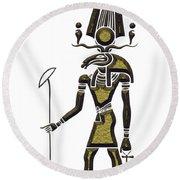 Khensu - God Of Ancient Egypt Round Beach Towel