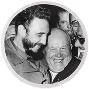Khrushchev And Castro Round Beach Towel