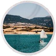 Kid Sailing On A Lake Round Beach Towel