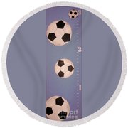 Kids And Soccer Round Beach Towel