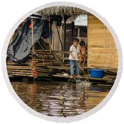 Kids At Play In Shanty Town Round Beach Towel