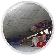 Kids At The Bean Round Beach Towel