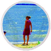 Kids Playing On The Seashore Mom And Little Boys Pointe Claire Montreal Waterscene Carole Spandau Round Beach Towel