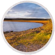 Kielder Dam In Late Evening Round Beach Towel