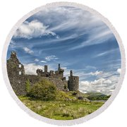 Kilchurn Castle 01 Round Beach Towel