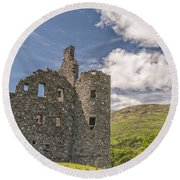 Kilchurn Castle 03 Round Beach Towel