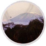 Kilimanjaro In The Morning Round Beach Towel