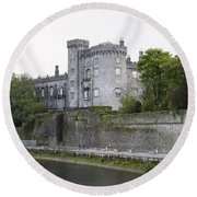 Kilkenny Castle Seen From River Nore Round Beach Towel