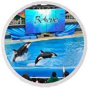 Killer Whales Perform In Shamu Stadium At Seaworld. Round Beach Towel