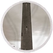 Kilmacdaugh Tower- Antique Black And White Round Beach Towel