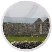 Kilmacduagh Church Ruin Round Beach Towel