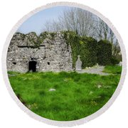 Kilmore Church Ruins - Founded By St Patrick - Ballina Co Mayo Round Beach Towel
