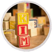 Kim - Alphabet Blocks Round Beach Towel