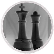 King And Queen In Black And Gray Round Beach Towel