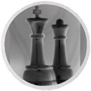 King And Queen In Black And Grey Round Beach Towel
