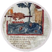King Arthur And Giant Round Beach Towel