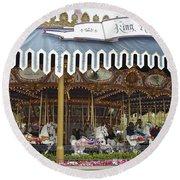King Arthur Carrousel Fantasyland Disneyland Round Beach Towel