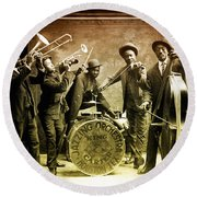 King Carter Jazzing Orchestra Round Beach Towel