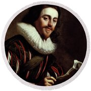 King Charles I Of England (1600-1649) Round Beach Towel