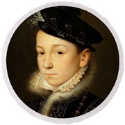 King Charles Ix Of France Round Beach Towel
