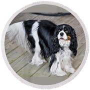 King Charles On The Boardwalk Round Beach Towel