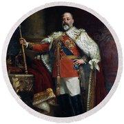 King Edward Vii Of England (1841-1910) Round Beach Towel