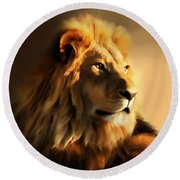 King Lion Of Africa Round Beach Towel