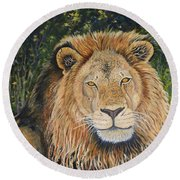 King Of The African Savannah Round Beach Towel